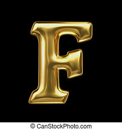 LETTER F in golden metal - Letter in gold metal on a black...