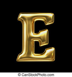 LETTER E in golden metal - Letter in gold metal on a black...