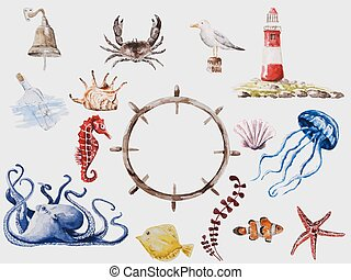 Marina set - Vector watercolor drawn sea animals set