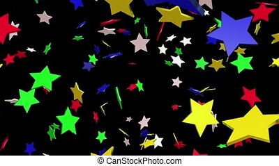 Flaying stars in various colors