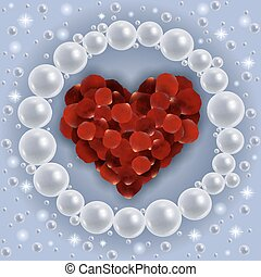 Heart of red rose petals with pearl frame