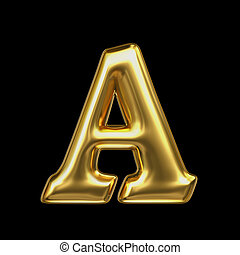LETTER A in golden metal - Letter in gold metal on a black...