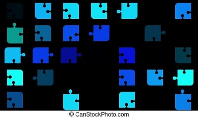Abstract flashing puzzle pieces in blue