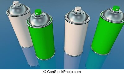 Color spray cans in blue and white
