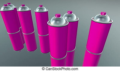 Color spray cans in purple and white