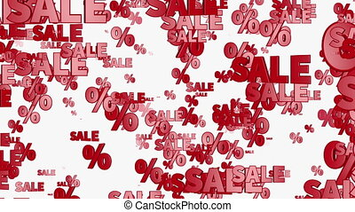 Sale and percents in red color on white