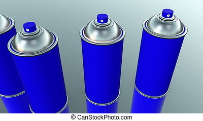 Color spray cans in blue and white on grey