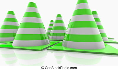 Traffic cones with green stripes