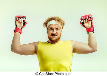 Concept for plump funny sporty man - Funny picture of red...
