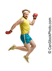 Concept of plump funny sporty man - Funny picture of red...