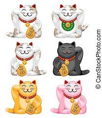 Maneki neko set - Maneki neko, set of ceramic figure cat...