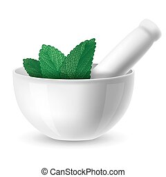 Mortar and pestle - White ceramic mortar and pestle with...