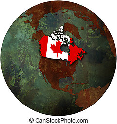 canada on earth - 3d view from space on southern hemisphere...