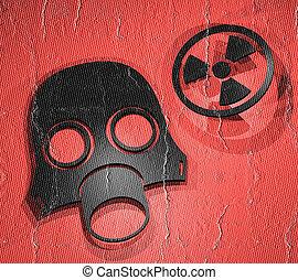 radiação, máscara,