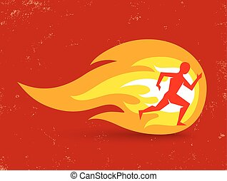 man and fire - Vector concept for running with man and fire