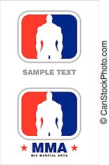Fighter. AMERICAN MMA. - Human silhouette. Muscular Man...