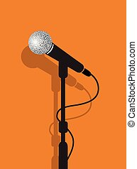 a black microphone stand on a orang