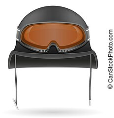 military helmet with tactical goggles vector illustration
