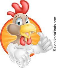 Chicken THumbs Up Design - A cartoon chicken mascot giving a...