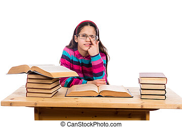 Funny girl with pile of books - Funny girl with pile of old...