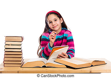 creative girl with pile of books - Creative girl with pile...