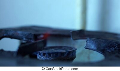 Retro gas stove - Flame of retro gas burner on gas stove