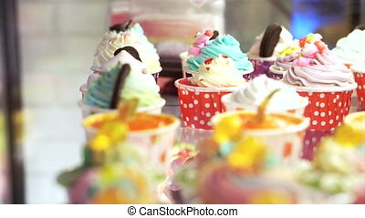 Variety of colourful cupcakes
