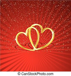 Interlocking hearts - Two golden interlocking hearts on a...