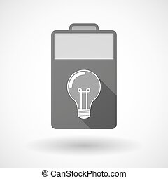 Isolated battery icon with a light bulb