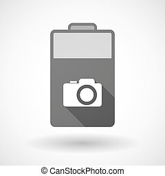 Isolated battery icon with a photo camera