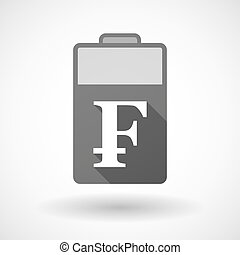 Isolated battery icon with a swiss franc sign - Illustration...