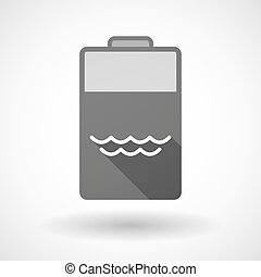 Isolated battery icon with a water sign