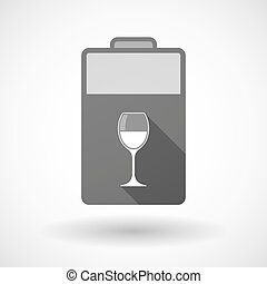 Isolated battery icon with a cup of wine