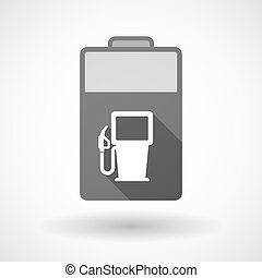 Isolated battery icon with a gas station