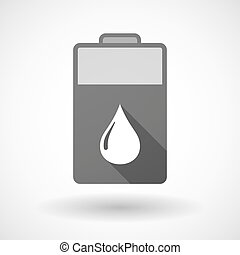 Isolated battery icon with a fuel drop