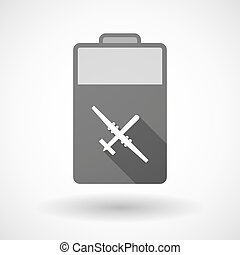 Isolated battery icon with a war drone - Illustration of an...
