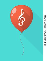 Long shadow balloon with a g clef - Illustration of a long...