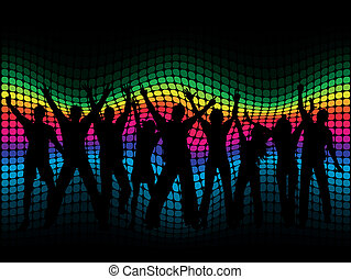 Party people - Silhouettes of people dancing on a spectrum...