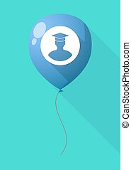 Long shadow balloon with a student - Illustration of a long...
