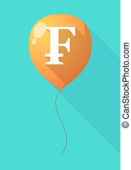 Long shadow balloon with a swiss franc sign - Illustration...