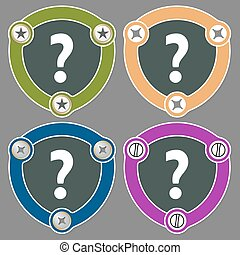 Set of four flat icons and question mark