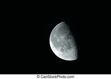 Half moon in the night