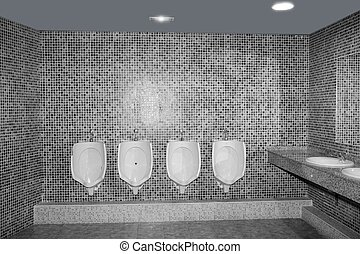 Bathroom urinal in a row with gray tiles black and white