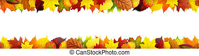 Seamless autumn leaves banner with clipping path
