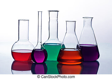 laboratory  glassware with solution  colorful