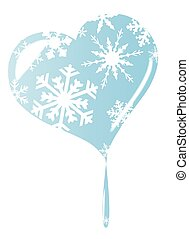Melting Ice Heart - A cold winter melting frozen heart with...