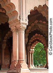 Traditional Indian Architecture at the Red Fort in Old...