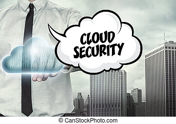 Cloud security text on cloud computing theme with...