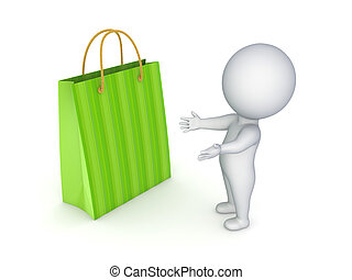 3d person and plastic bag - 3d person with green plastic bag...