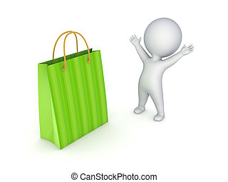3d person and plastic bag. - 3d person with green plastic...